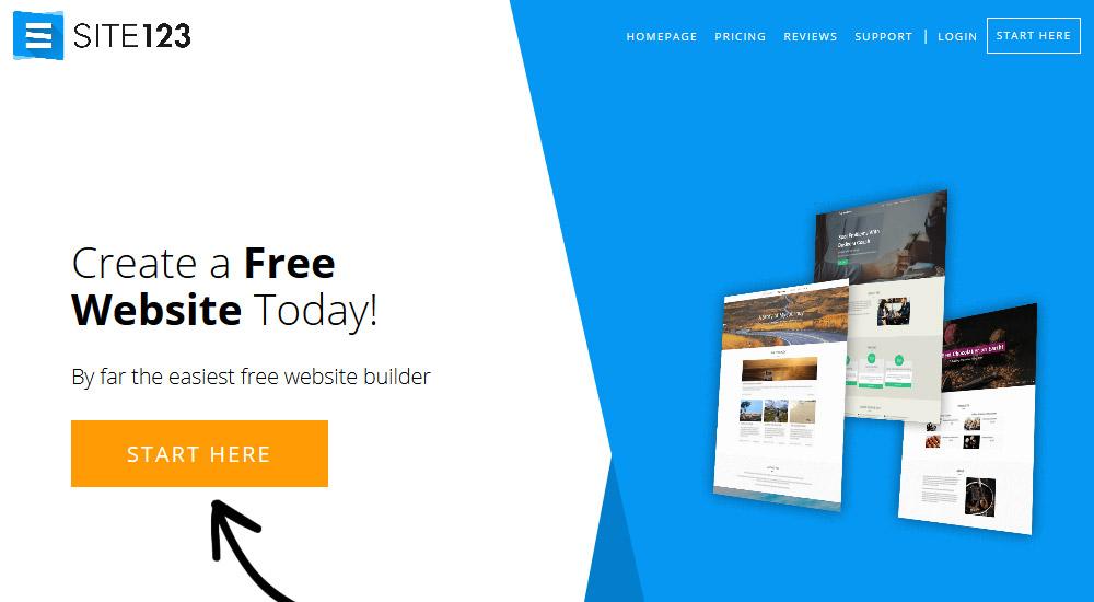 Site123 bezmaksas mājas lapas konstruktors