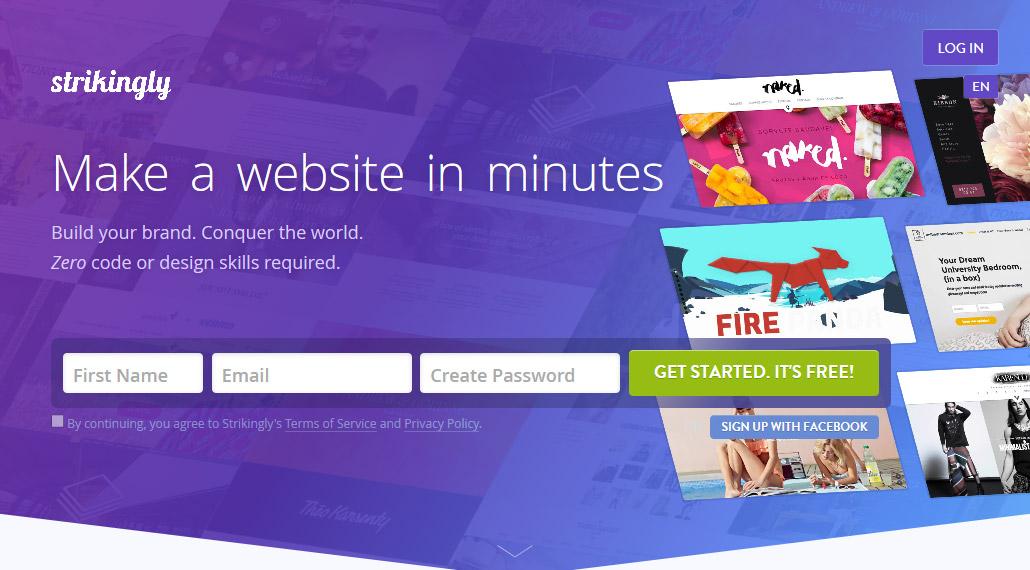 Strikingly bezmaksas mājas lapa dažās minūtēs