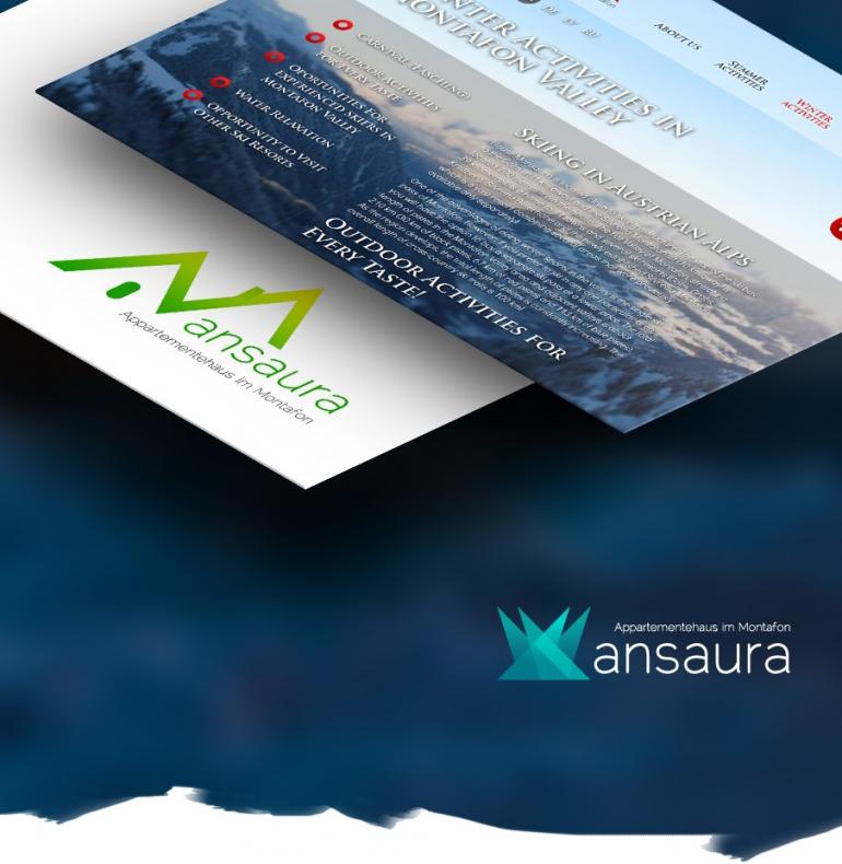 Austrijas Alpu viesu nama identitāte, mājas lapas dizains un izstrāde
