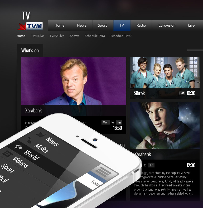 Website design development for Malta's National Broadcasting Station
