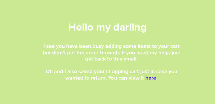 Friendly abandoned cart email example