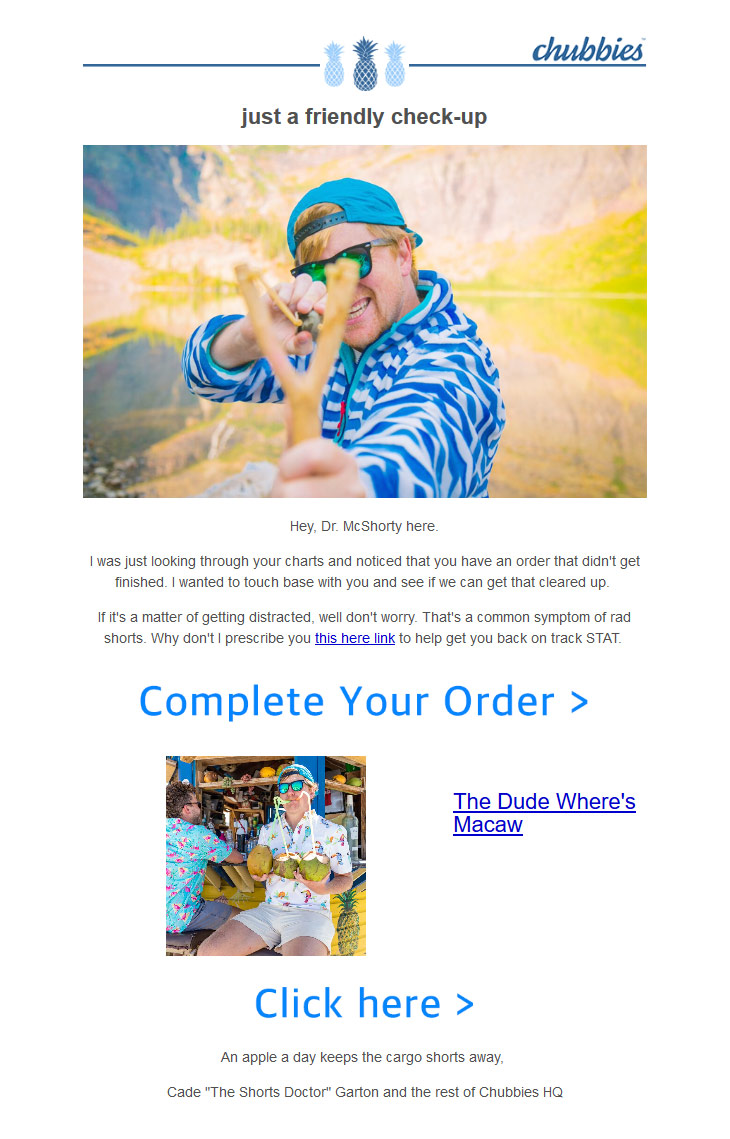 Abandoned cart email example from Chubbies