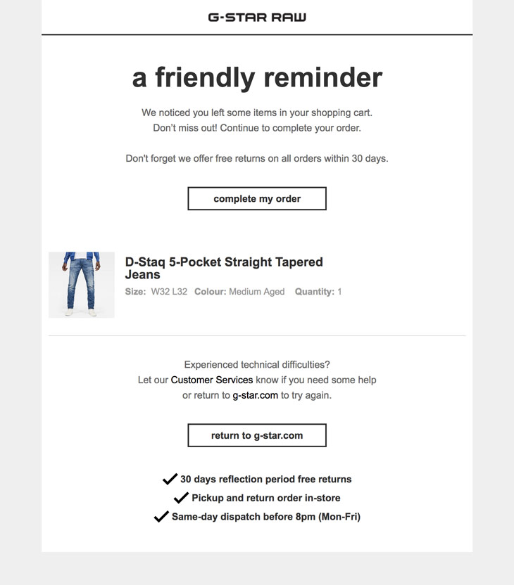Email reminder about left items from G-Star