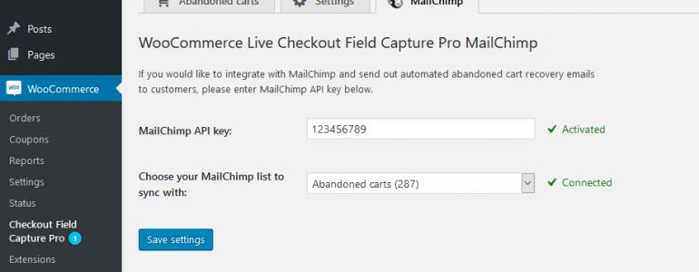Save abandoned carts MailChimp settings