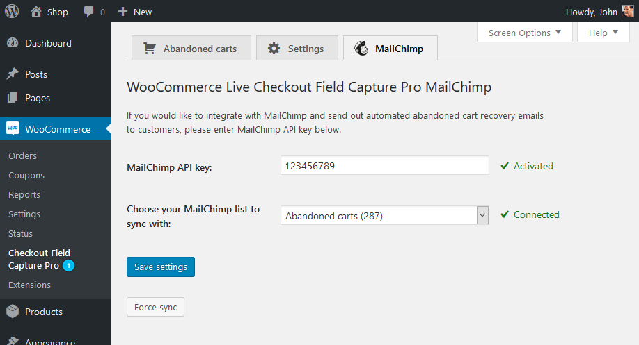 Save abandoned carts MailChimp settings