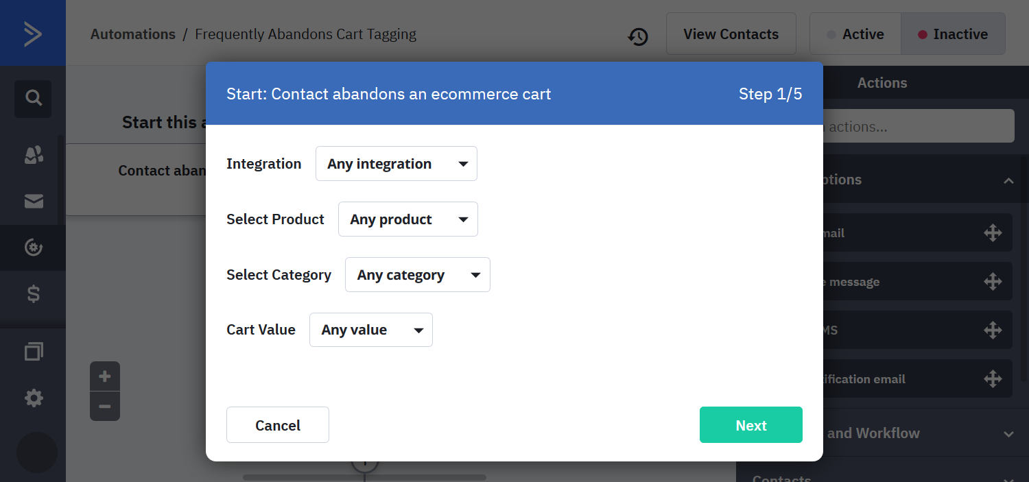 Abandoned cart automation wizzard default values in ActiveCampaign
