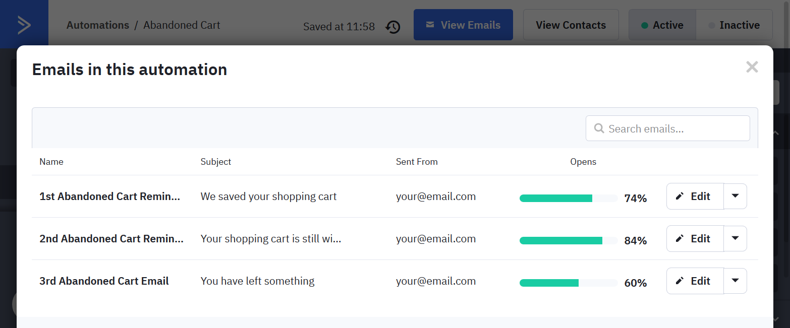 ActiveCampaign's email list used for abandoned cart reminder automation
