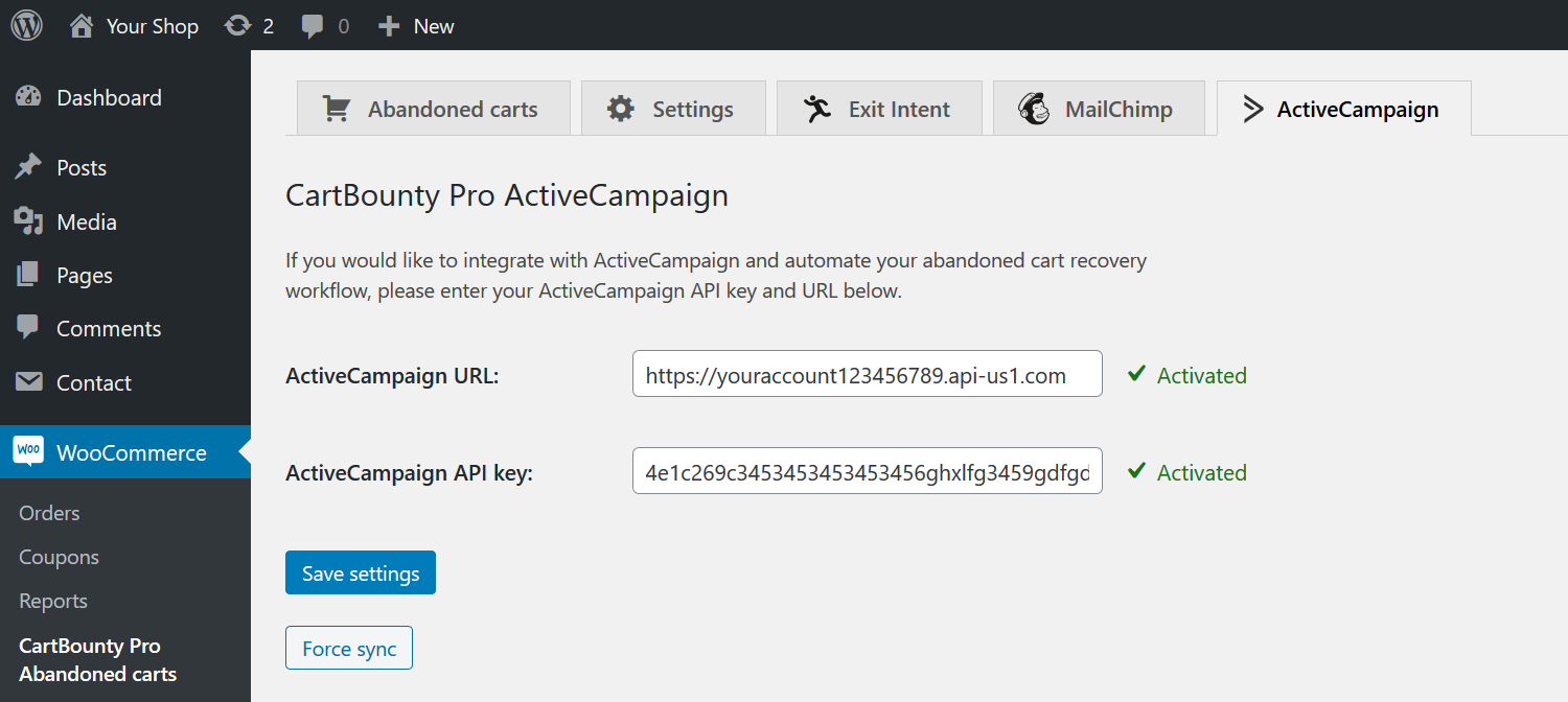 ActiveCampaign's tab location in CartBaunty where API key and URL must be inserted
