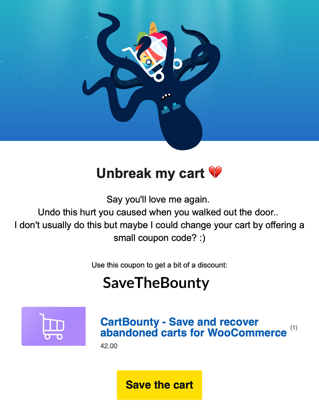 Last and 3rd abandoned cart email example from CartBounty featuring the final warning before the shopping cart is gone