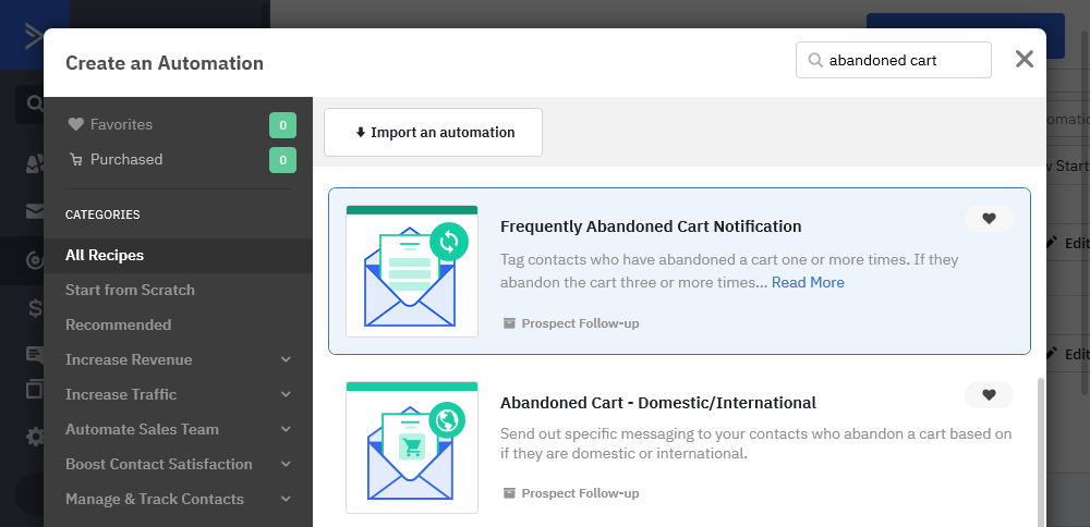 Abandoned cart reminder automation location in ActiveCampaign