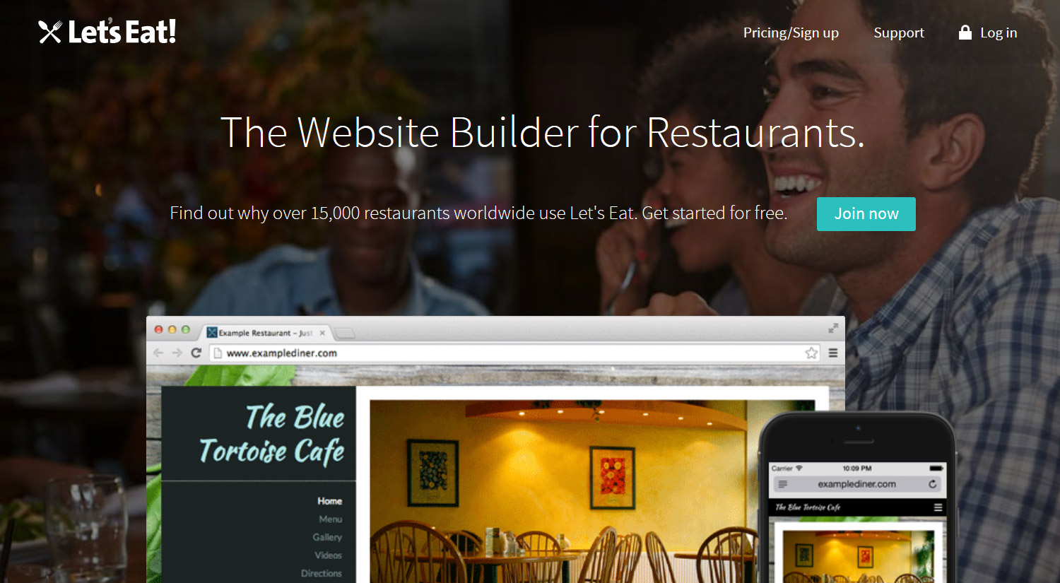 Create a restaurant website for free with LetsEat