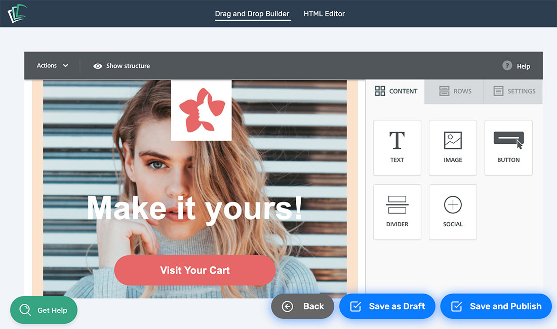 Example of an email design using drag and drop blocks in CartStack