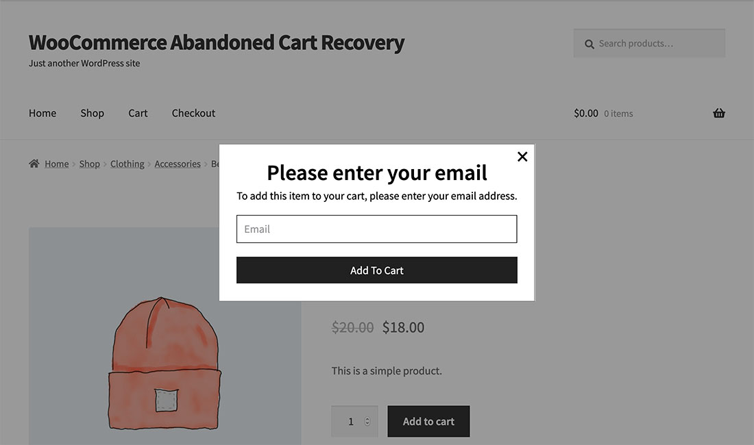 Add to cart pop-up asking for an email before adding the product to your shopping cart