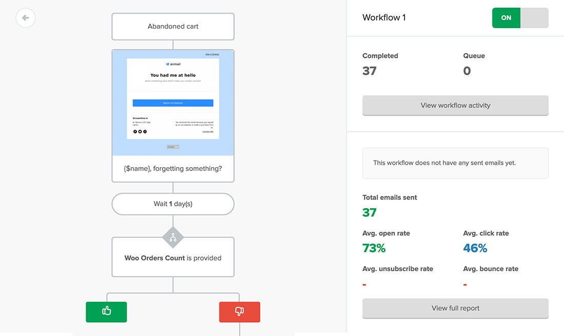Abandoned cart automation workflow example in MailerLite