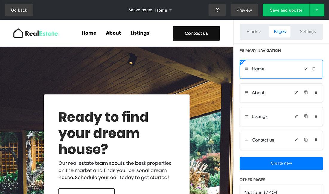 Websuite building and design options in MailerLite