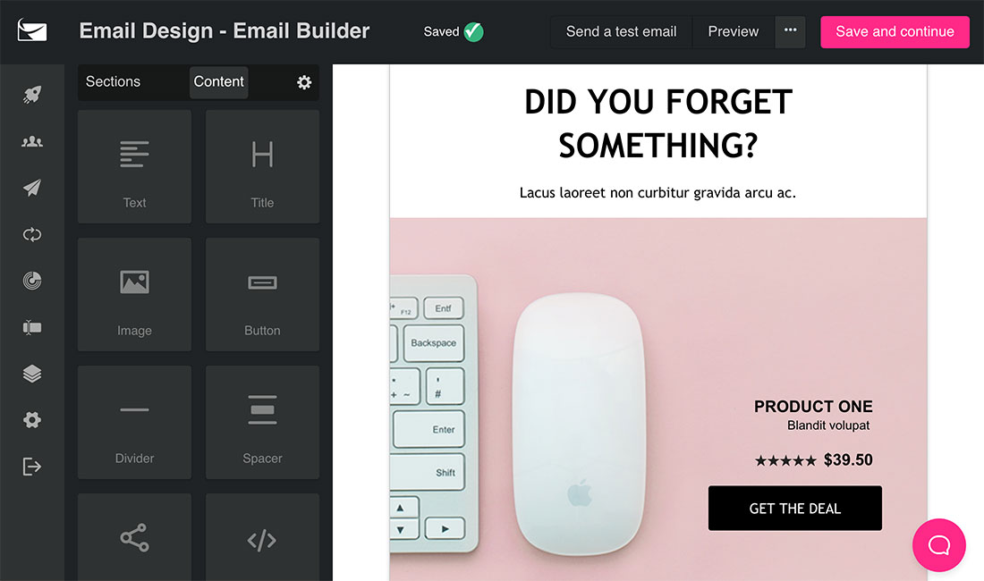 SendLane email designer tool in action