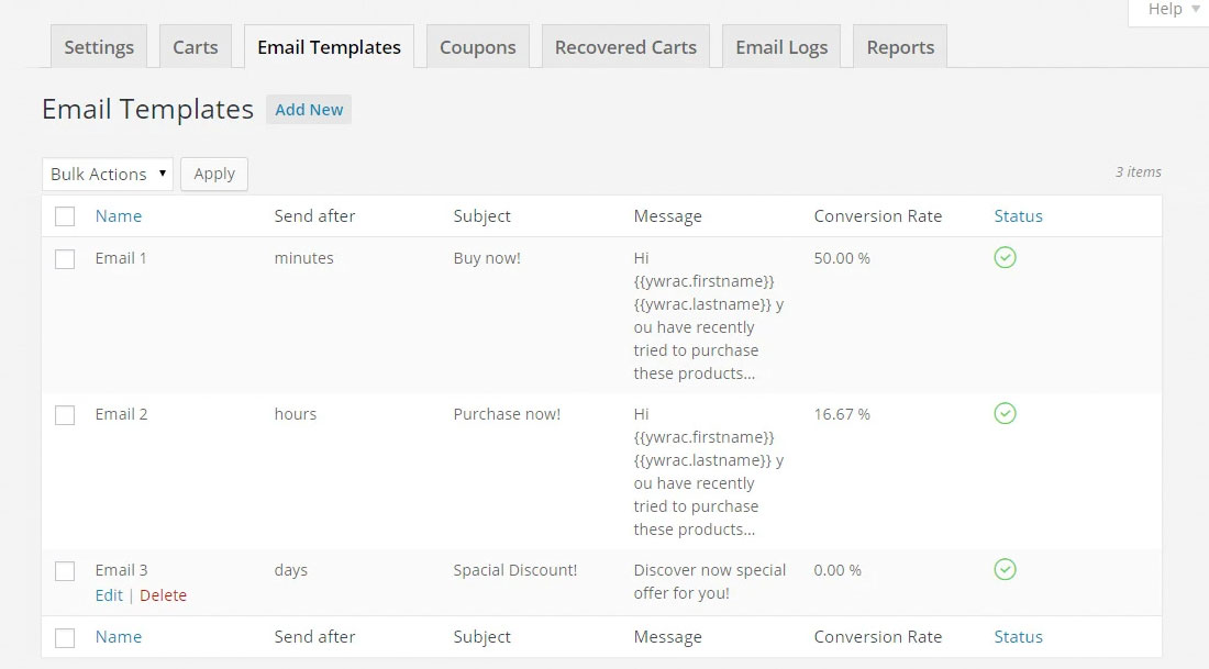 How email templates look in YITH